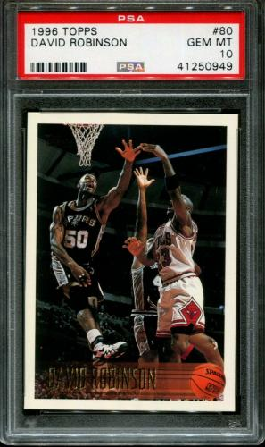 1996 Topps #80 David Robinson Spurs Hof Pop 6 Psa 10 K2598518-949