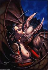 1998 Original Art Painting By Dorian Cleavenger Vampire Feeding