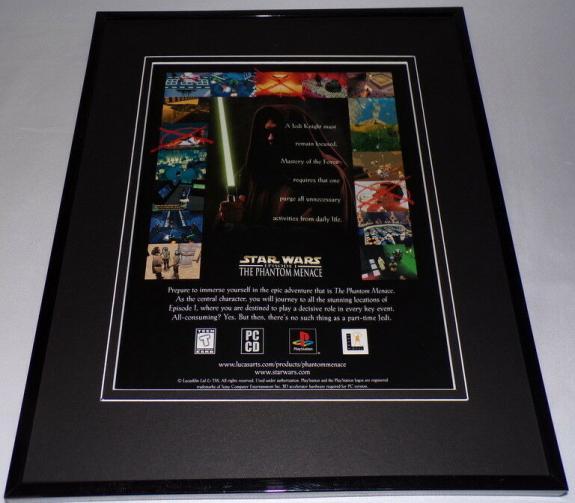 1999 Star Wars Phantom Menace PS1 Framed 11x14 ORIGINAL Vintage Advertisement