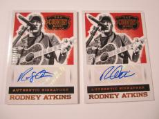 (2) 2014 Panini Country Music RODNEY ATKINS Autographed Card  #'d 176/199 SP LOT