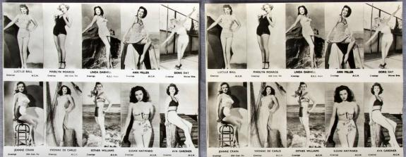 2 Marilyn Monroe 4×5 Glossy Photos w/ Lucille Ball & Other Starlets