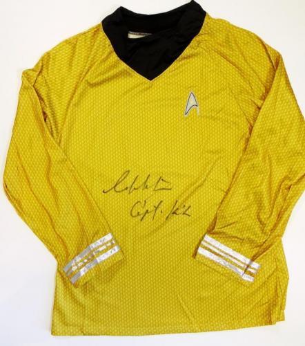 William Shatner Signed Star Trek Gold Shirt w/Captain Kirk-Beckett Auth