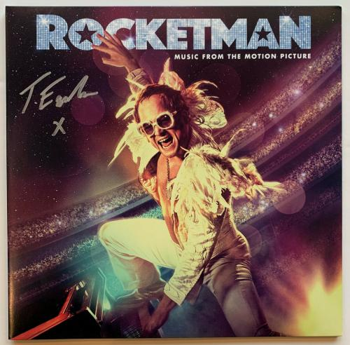 "Egerton Autographed Elton John ""Rocketman"" Movie Vinyl Record Album signed BAS"