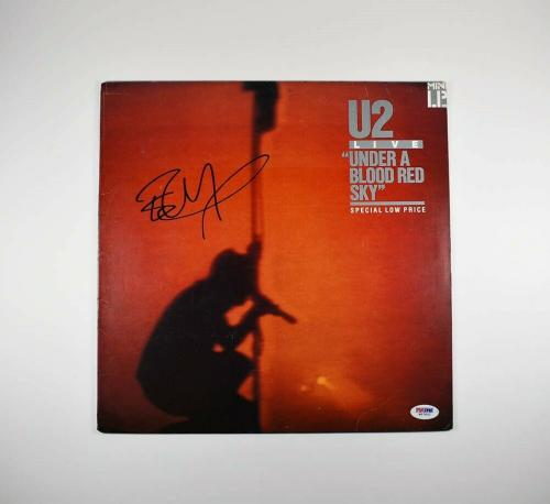 The Edge U2 Under A Blood Red Sky Autographed Signed Album Certified PSA/DNA COA