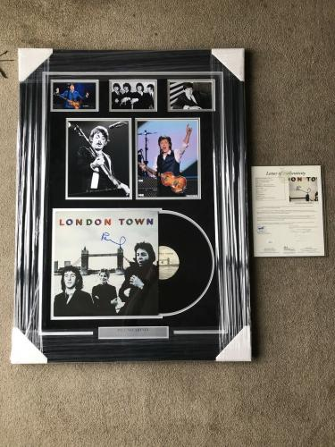 Paul McCartney Autograph Signed Beatles London Town Album Collage Framed JSA