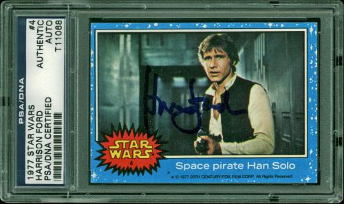 Harrison Ford Signed 1977 Star Wars #4 Space Pirate Han Solo Card PSA Slabbed