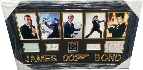 Sean Connery Roger Moore Dalton Pierce Signed Auto Cuts Framed Photos James Bond