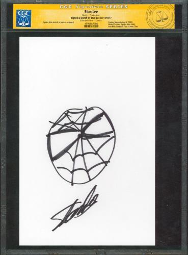 Stan Lee Marvel Signed 7x10.5 Spider-Man Hand-Drawn Sketch CGC & PSA