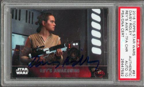Daisy Ridley Star Wars Signed 2016 Topps Star Wars #81 Card Auto 10! PSA Slabbed