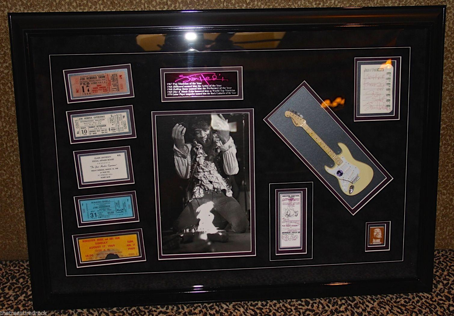 JIMI HENDRIX signed autographed display guitar WOODSTOCK TICKET 1969 RARE PSA