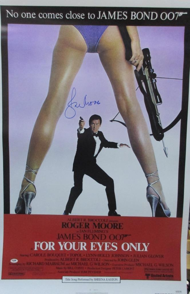 Roger Moore Signed 27x40 James Bond 007 For Your Eyes Only Poster Psa/dna X48495