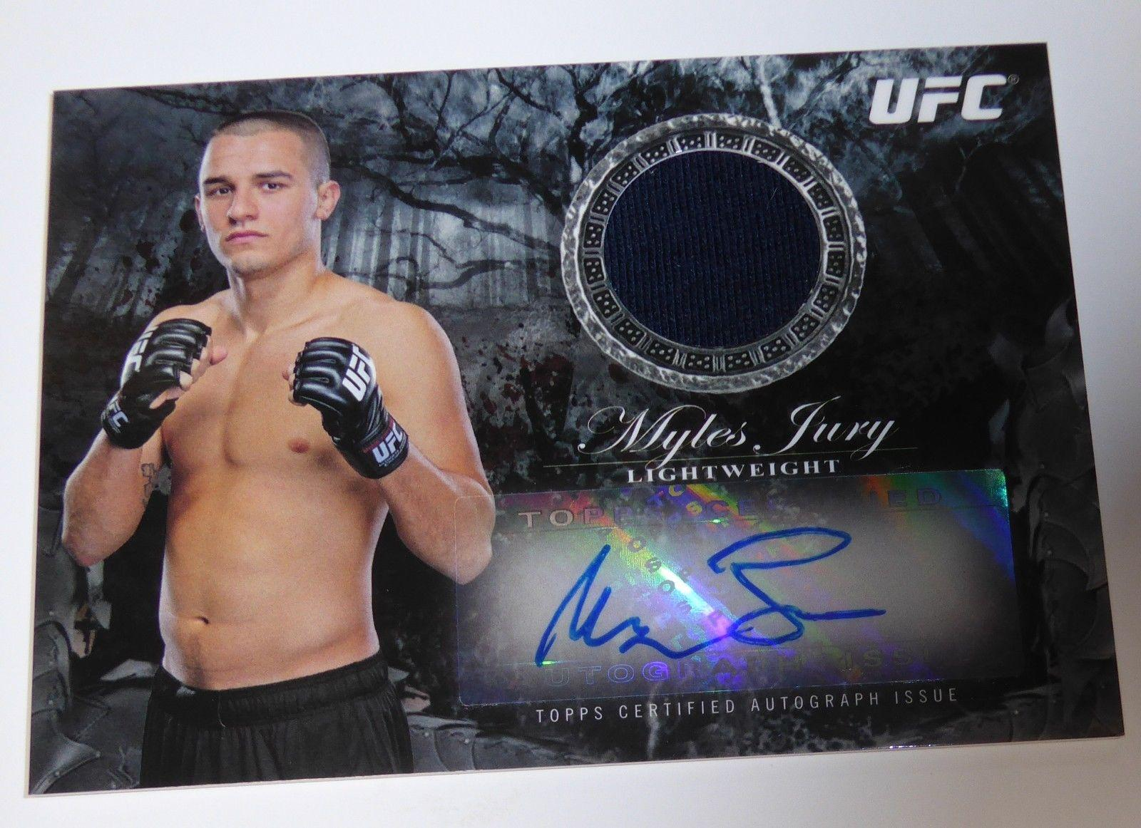 Myles Jury Signed UFC 2014 Topps Bloodlines Relics Autograph Card #BAR-MJ 28/175