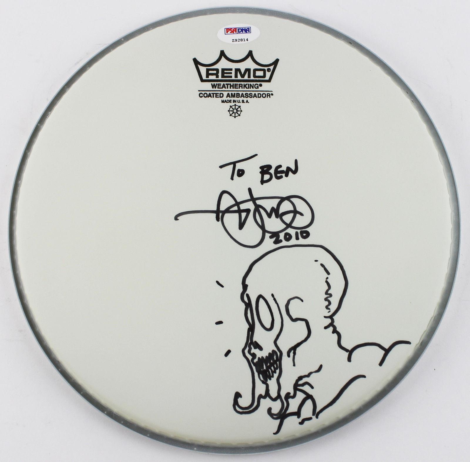 Adam Jones Of Tool Signed Remo Drumhead W/ Rare Sketch Psa/dna Coa Z92814