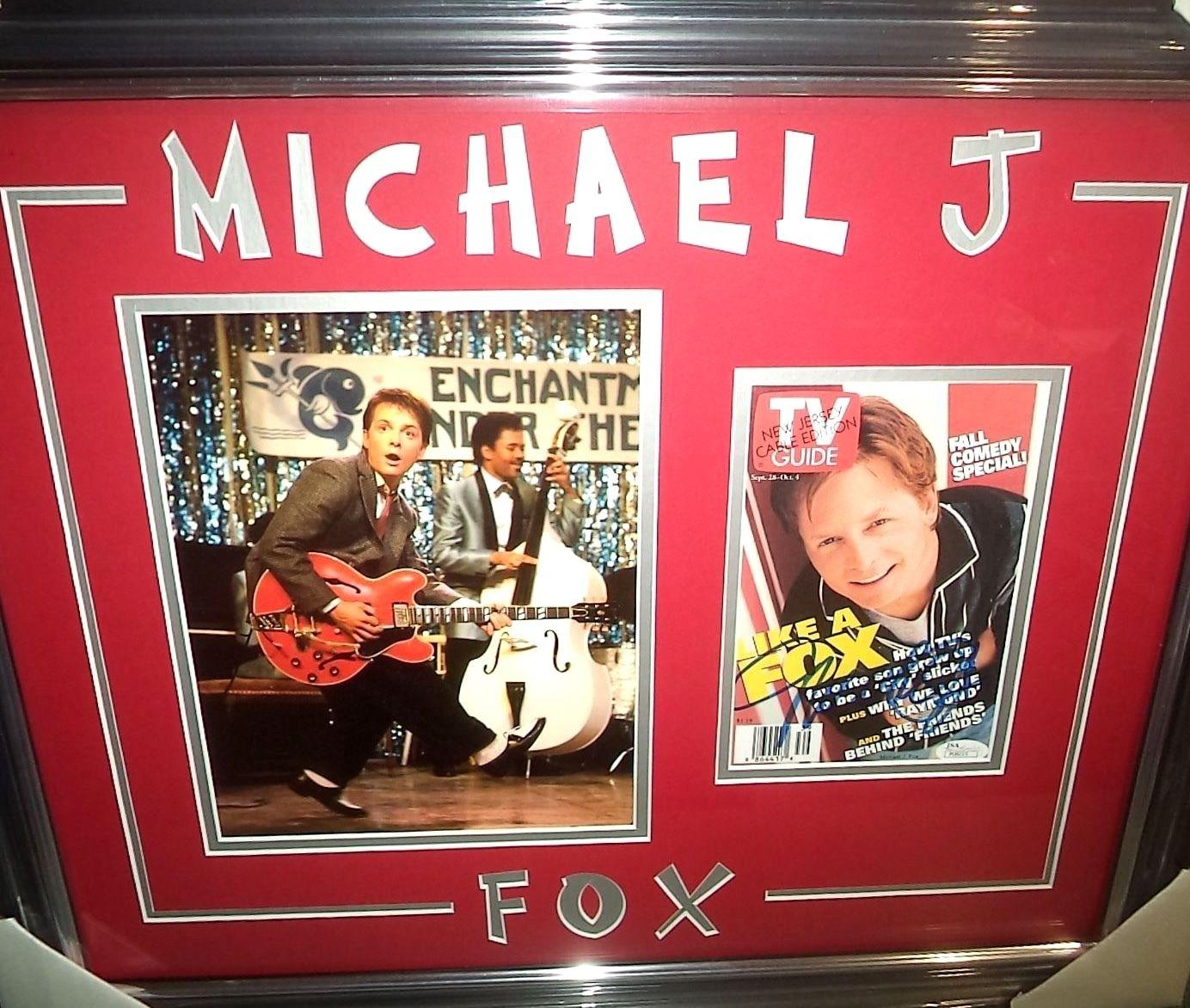 "Michael J Fox ""back To The Future"" Signed Double Matted & Framed Jsa Coa Rare"
