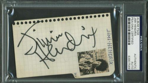 Jimi Hendrix Signed Autographed 3x4 Album Page PSA/DNA Authentic