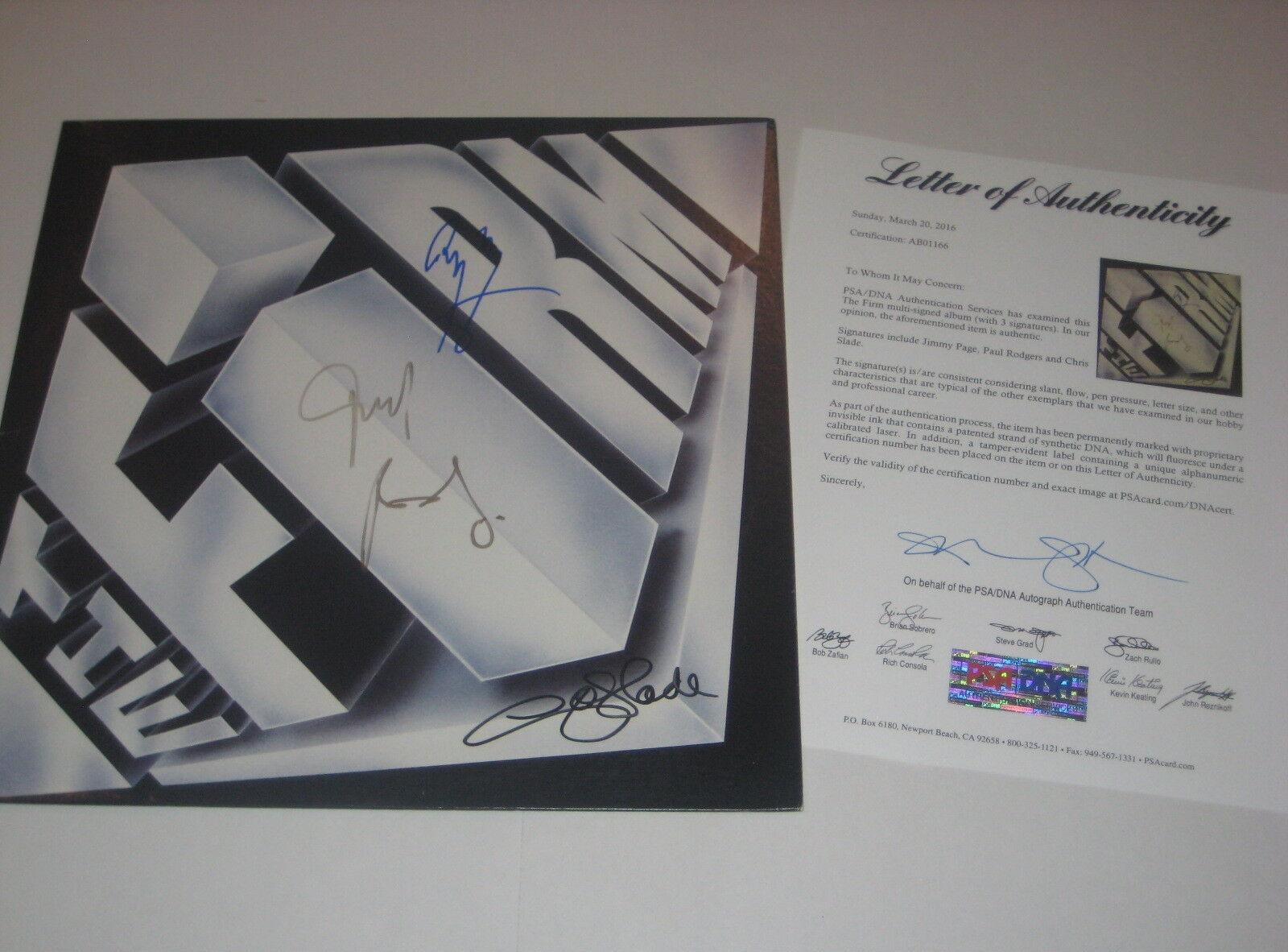 JIMMY PAGE, PAUL ROGERS & CHRIS SLADE Signed THE FIRM Album w/ PSA LOA