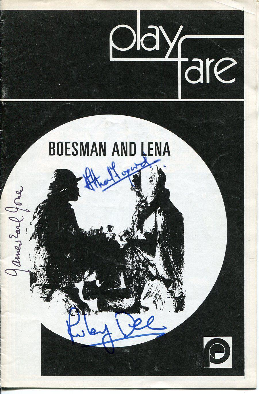 James Earl Jones Athol Fugard Ruby Dee Boesman & Lena Signed Autograph Playbill