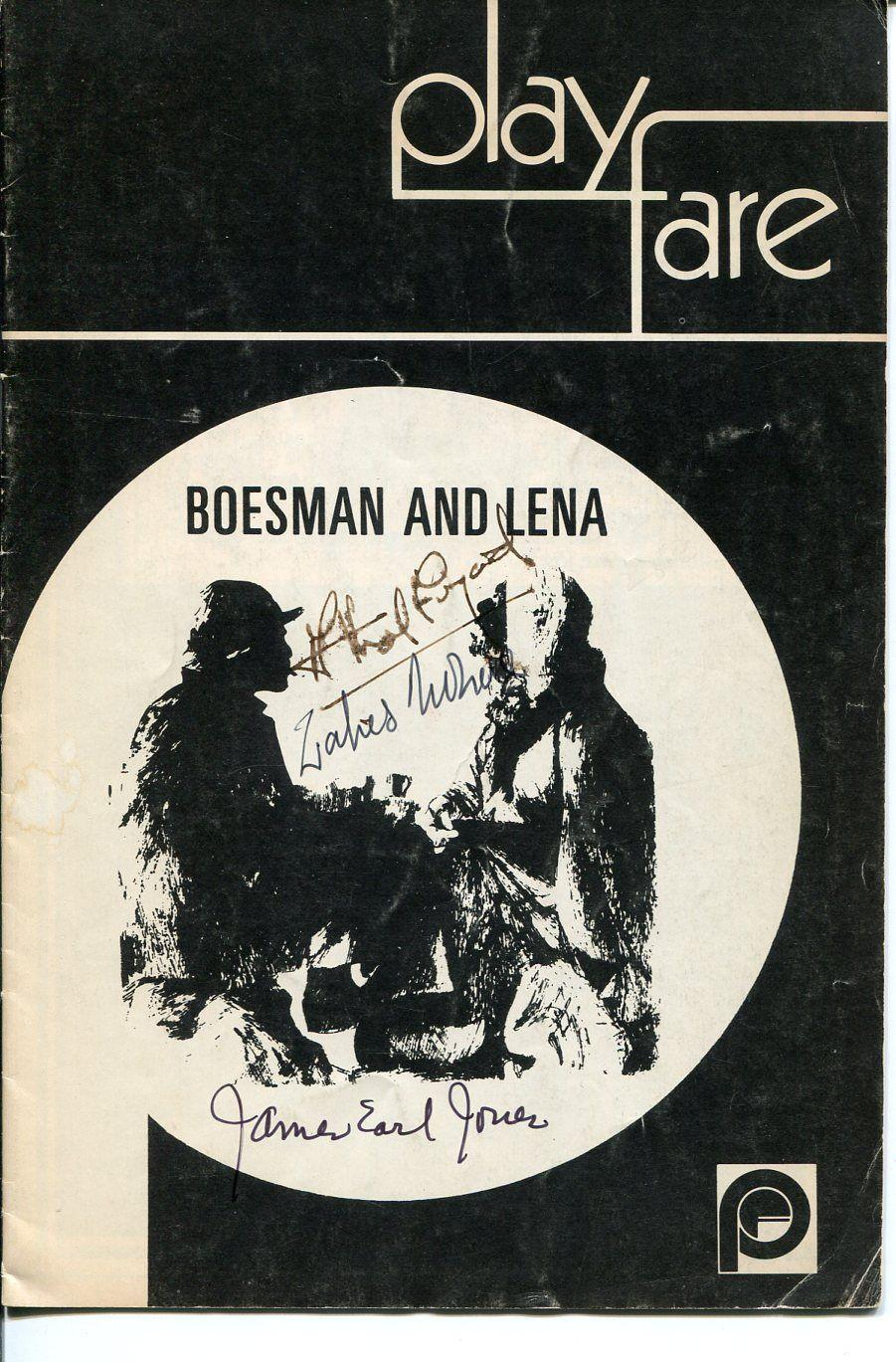 James Earl Jones Athol Fugard Zakes Mokae Boesman Lena Signed Autograph Playbill