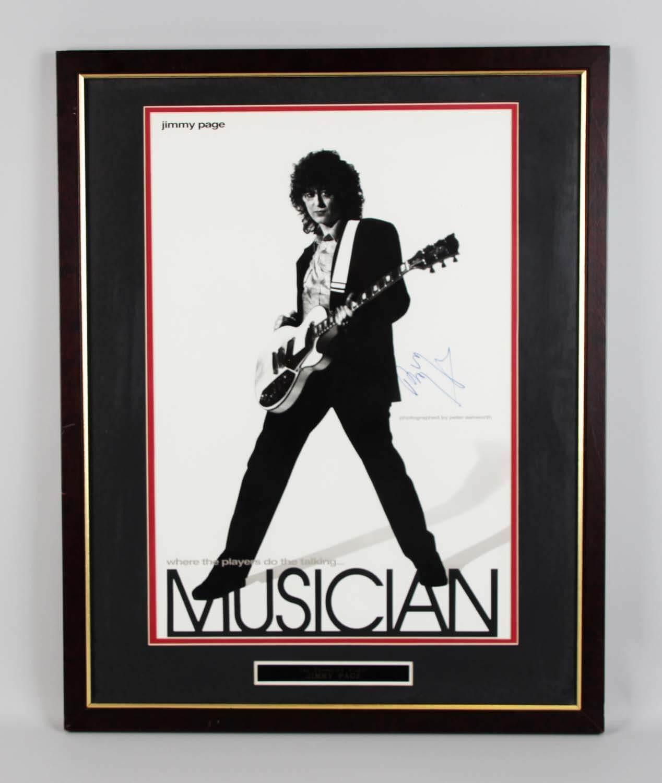 Led Zeppelin – Jimmy Page Signed 24×30 Poster Display – JSA Full LOA