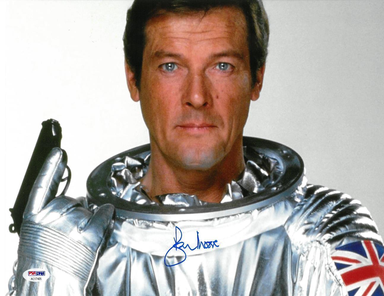 Roger Moore Signed James Bond Authentic Autographed 11x14 Photo PSA/DNA #AC17405