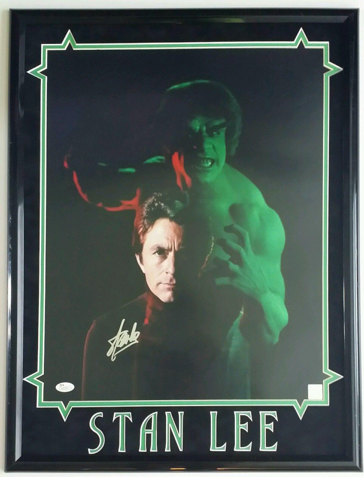 Stan Lee Autographed Signed 16x20 Framed 18x24 The Hulk JSA