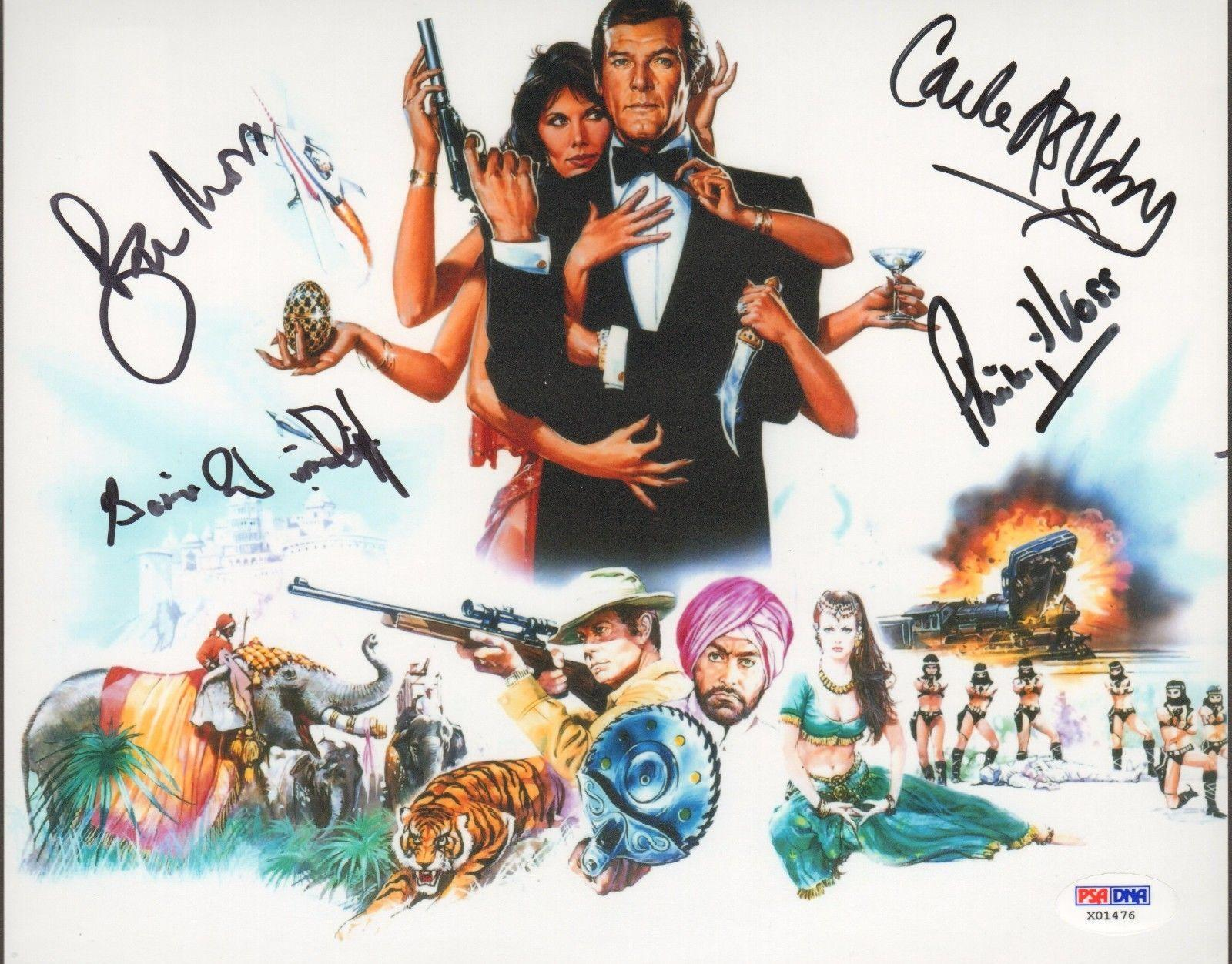 "ROGER MOORE +3 Signed James Bond ""OCTOPUSSY"" Movie 8x10 Photo PSA/DNA #X01476"