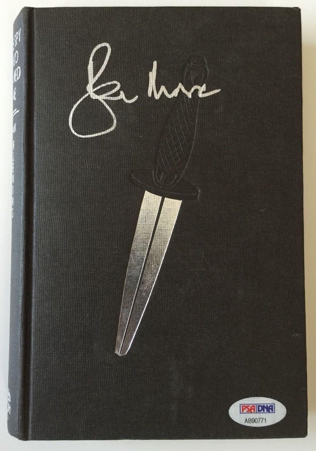 ROGER MOORE Signed JAMES BOND Spy Who Loved Me Ian Fleming HC Book PSA/DNA COA