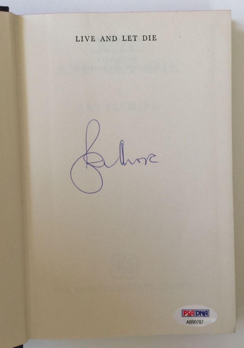 ROGER MOORE Signed JAMES BOND Live and Let Die Ian Fleming HC Book PSA/DNA COA
