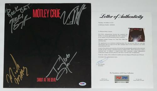 Motley Crue X4 Tommy Nikki Mick & Vince Signed Shout At The Devil Album Flat Psa