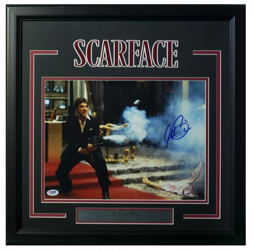 Al Pacino Signed Framed Scarface 11x14 Say Hello To My Little Friend Photo PSA