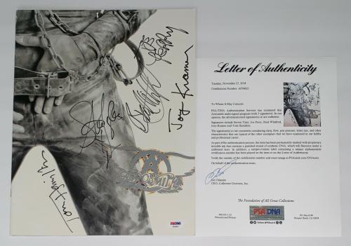 Aerosmith X5 Steven Tyler Joe Perry Brad Joey Tom Signed Get A Grip Program Psa