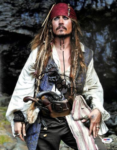 Johnny Depp Pirates Of The Caribbean Signed 11x14 Graded 10! Photo PSA #W04412
