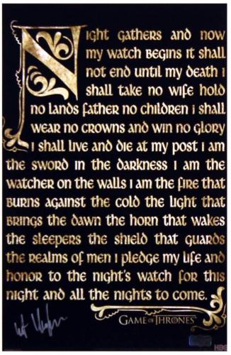 Kit Harington Signed Game of Thrones 11×17 Photo – Night's Watch Oath