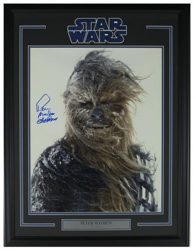 Peter Mayhew Signed Framed Star Wars Chewbacca Snow 16x20 Photo Steiner