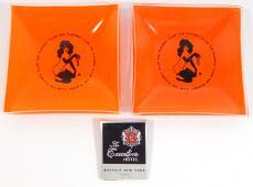 (2) The Playboy Club Glass Orange Key Trinket Dish-Ash Trays w/Match Book