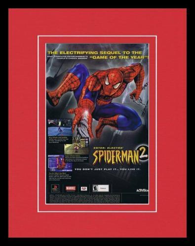 2001 Spider-Man 2 Enter Electro PS1 Framed 11x14 ORIGINAL Vintage Advertisement