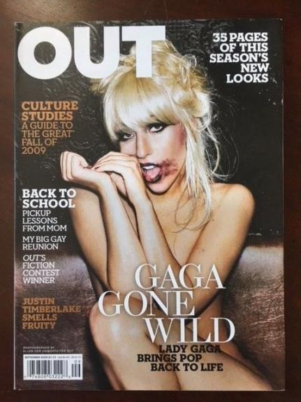 "2009, LADY GAGA, ""OUT"" Magazine (Early Cover) No Label"