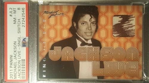 2011 Michael Jackson LIVE Panini King of Pop Used Material Swatch PSA NM-MT 8