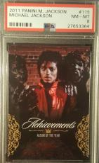 2011 Michael Jackson Panini Achievements Thriller Red Foil PSA Graded PSA NMMT 8