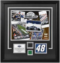 Jimmie Johnson 2013 Daytona 500 Champion Framed 11'' x 14'' Photograph with Driver Facsimile Signature, Race-Used Tire & Green Flag - Mounted Memories