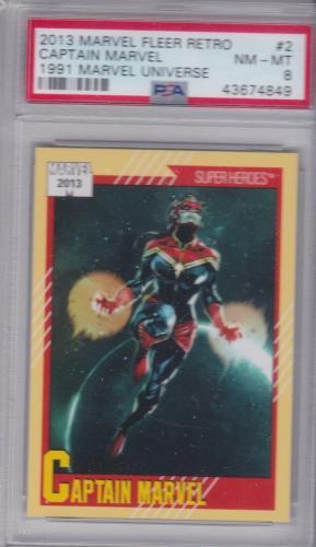 2013 Marvel Fleer Retro 1991 Marvel Universe #2 Captain Marvel PSA NM-MT 8