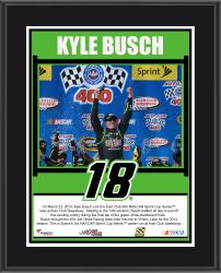 Kyle Busch 2014 Auto Club 400 at Auto Club Speedway Race Winner Sublimated 10.5'' x 13'' Plaque - Mounted Memories