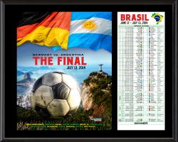 2014 Brazil World Cup Final Argentina vs. Germany Sublimated 12'' x 15'' Plaque