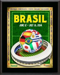 """2014 Brazil World Flags 10.5"""" x 13"""" Sublimated Plaque"""