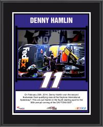 Denny Hamlin 2014 Budweiser Duel 2 at Daytona International Speedway Race Winner Sublimated 10.5'' x 13'' Plaque - Mounted Memories