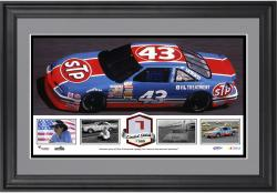 2014 Richard Petty Daytona International Speedway Framed Stadium Panoramic with Race-Used Sign