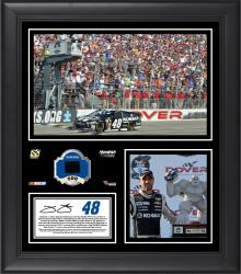Jimmie Johnson 2014 Nascar Sprint Cup Series Race at Dover International Speedway Race Winner Framed 15'' x 17'' Collage With Race-Used Tire - Mounted Memories