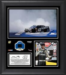 Jimmie Johnson 2014 Quicken Loans 400 at Michigan International Speedway Race Winner Framed 15'' x 17'' Collage With Race-Used Tire - Mounted Memories