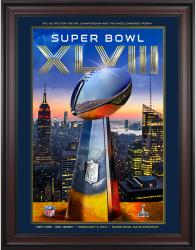 "2014 Seattle Seahawks vs. Denver Broncos 36"" x 48"" Framed Canvas Super Bowl XLVIII Program"