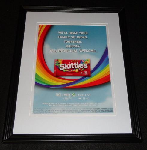 2014 Skittles / Xbox Live Framed 11x14 ORIGINAL Advertisement